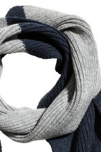 Ribbed wool scarf - Dark blue/Grey -  | H&M CN 3